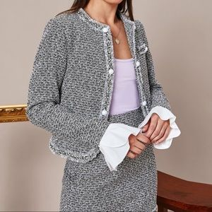 Shein Button Front Sleeve Tweed Jacket & Skirt Set